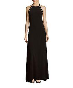 Halston | Solid Embellished Halter Dress