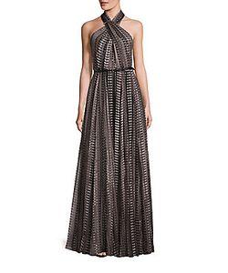 Halston | Pleated Halterneck Gown