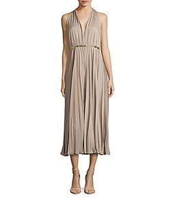 Halston | Accordion Pleat Sleeveless Dress