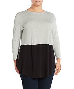 Vince Camuto | Mixed Media Roundneck Top