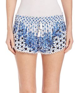 Poupette St Barth | Bamboo Printed Silk Shorts