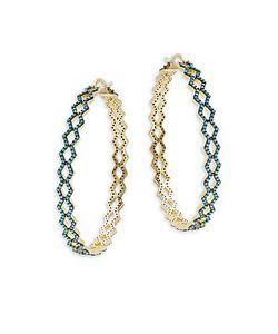Noir | Turquoise-Studded Hinged Hoop Earrings4in