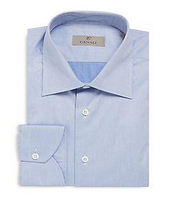 Canali | Modern-Fit Chambray Cotton Dress Shirt