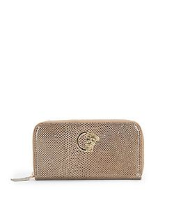 Versace Collection   Snake-Print Leather Zip Wallet