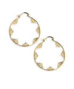 Noir | Cz-Studded Hoop Earrings1.75in