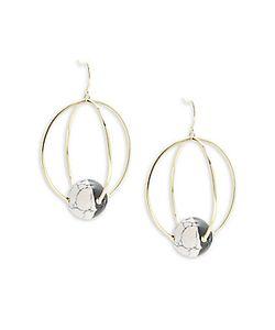 Noir | Orbital Two-Tone Stone Drop Earrings