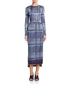 Suno   Printed Long-Sleeve Body-Con Sheath Dress