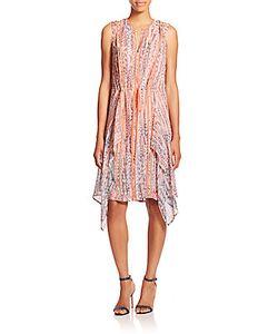 BCBGMAXAZRIA | Printed Silk Chiffon Ruffle Dress