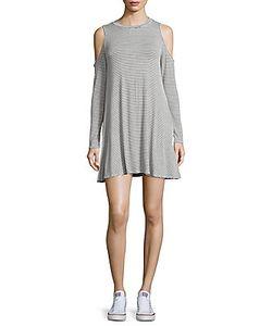 Elan | Striped Cold-Shoulder Dress