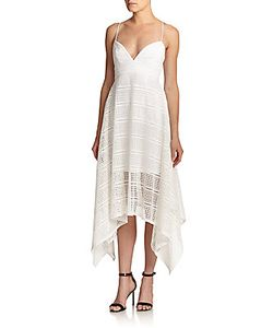 NICHOLAS | Geometric Lace Handkerchief-Hem Dress