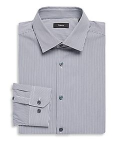 Theory | Dover Cotton Striped Dress Shirt