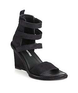 Ann Demeulemeester | Suede Strappy Wedge Sandals