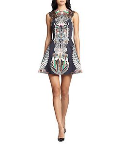 ALEXIS BARBARA | Lucio Lace-Trimmed Printed Dress