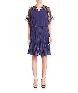 Ohne Titel | Cold-Shoulder Pleated Dress