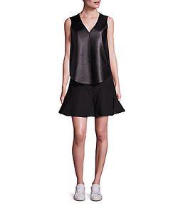 Derek Lam | Lamb Leather Blend Vest Sleeveless Fit Flare Dress Set