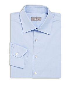 Canali | Modern Fit Textu Cotton Dress Shirt