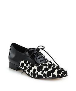 Michael Kors   Lottie Cheetah-Print Calf Hair Patent Leather Oxfords
