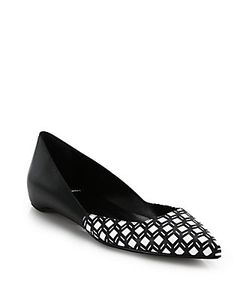 Pierre Hardy | Cube-Print Leather Point-Toe Flats