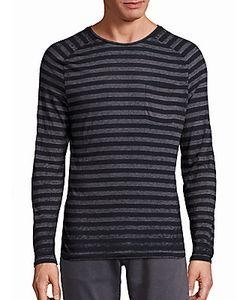 John Varvatos | Striped Saddle Shoulder Knit Tee
