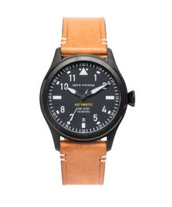 Jack Mason | Aviation Automatic Pvd Leather Strap Watch