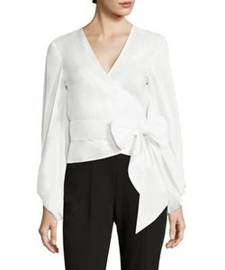 Scripted | Blouson Sleeve Poplin Wrap Top