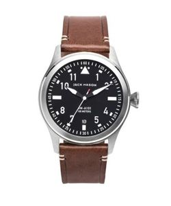 Jack Mason | Aviation Stainless Steel Italian Leather Strap Watch