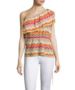 M Missoni | Asymmetrical Shoulder Ombre Zigzag Top