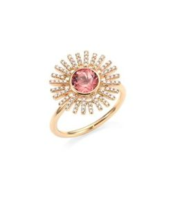 Astley Clarke | Rising Sun Diamond Pink Tourmaline 18k Yellow Gold Ring