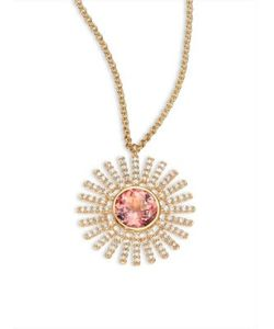 Astley Clarke | Rising Sun Diamond Pink Tourmaline 18k Yellow Gold Pendant Necklace