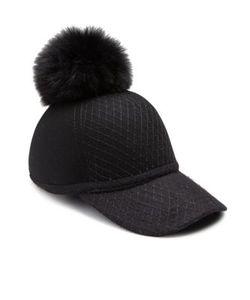 House Of Lafayette   Fox Fur Pom-Pom Wool Baseball Cap