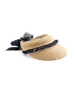 Lola Hats | Pinafore Denim-Trim Raffia Visor
