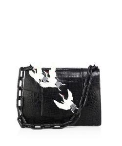Nancy Gonzalez | Large Crocodile Flap-Top Chain Shoulder Bag