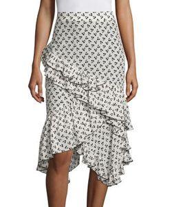 Altuzarra | Tucson Cherry-Print Ruffle Silk Skirt