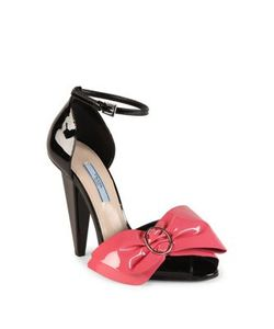 Prada | Patent Leather Bow Peep Toe Sandals