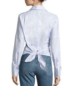 Helmut Lang | Cotton Poplin Tie-Back Tuxedo Shirt