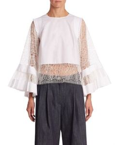 Adam Lippes | Cropped Lace Inset Blouse