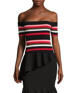 Scripted | Off-The-Shoulder Striped Rib-Knit Top