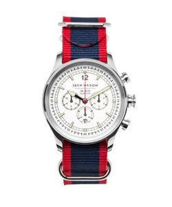 Jack Mason | Nautical Stainless Steel Chronograph Striped Strap Watch