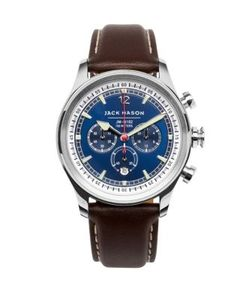 Jack Mason | Nautical Stainless Steel Italian Leather Sunray Dial Chronograph Strap Watch