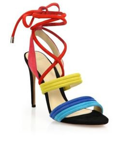 Alexandre Birman   Aurora Colorblock Suede Lace-Up Sandals