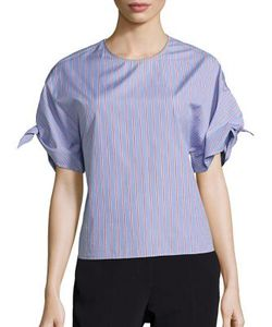 Rosetta Getty | Wrap Sleeve Striped Top