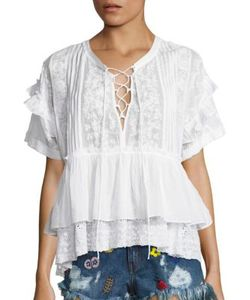 The Kooples | Short Sleeve Lace-Up Top