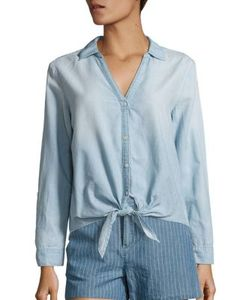 Joie   Soft Crysta Chambray Tie-Waist Blouse