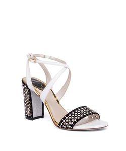 Rene Caovilla | Pearl Studded Suede Leather Block Heel Sandals