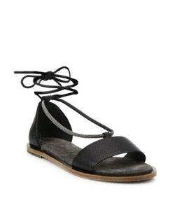 Brunello Cucinelli   Monili-Trim Leather Ankle-Wrap Sandals