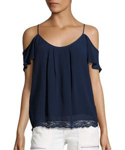 Joie   Adorlee B Lace-Trim Cold-Shoulder Silk Top