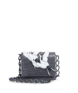 Nancy Gonzalez | Gio Crane-Embellished Crocodile Crossbody Bag