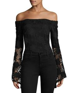 AIRLIE | Santorini Off-The-Shoulder Lace Bodysuit