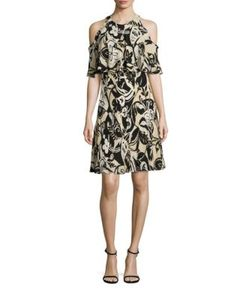 Polo Ralph Lauren | Cold-Shoulder Silkprint Dress