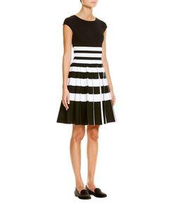 Carolina Herrera   Striped Pleated Dress